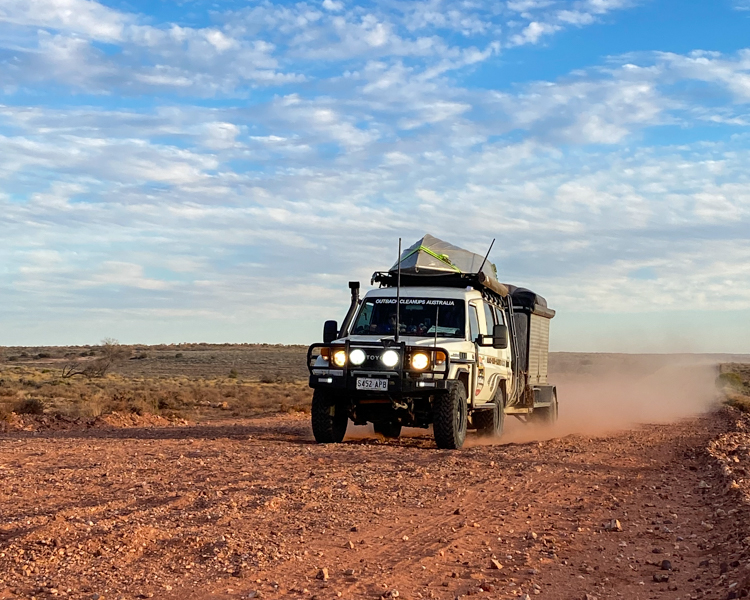 4-Outback-Corrugations-Dirt-Road-LandCruiser-Boat-On-Roof-Towing-OCA